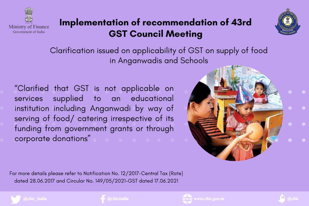 GST CLARIFICATION ISUEED ANGANWADI SCHOOLS